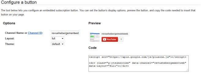 le code pour ajouter un bouton youtube
