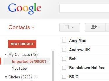 Contacts importé dans Gmail