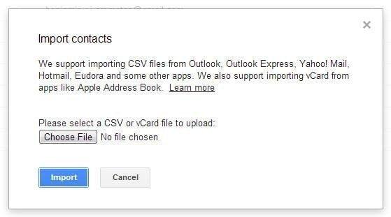 Importer vos contact dans Gmail