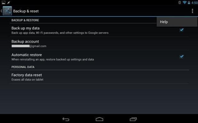 Activer la sauvegarde dan Android