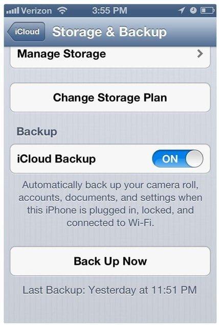 activation de sauvegarde dans iCloud