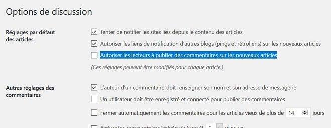 Désactiver les commentaires sur WordPress