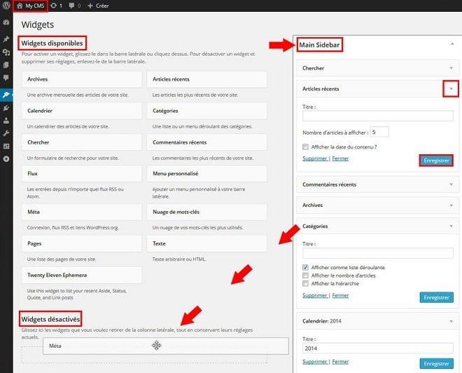 Organiser les widgets dans WordPress