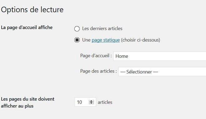 Définir une page d'accueil dans WordPress