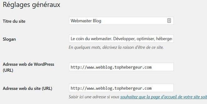 Changer le titre et le slogan de site WordPress