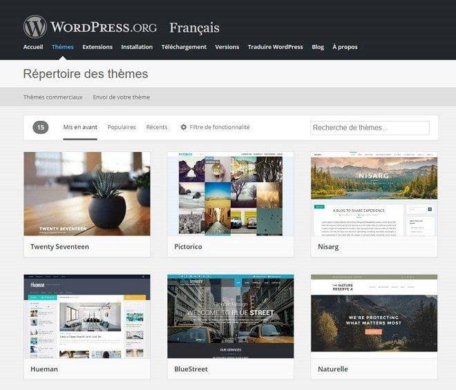 Répertoire de thèmes gratuits WordPress