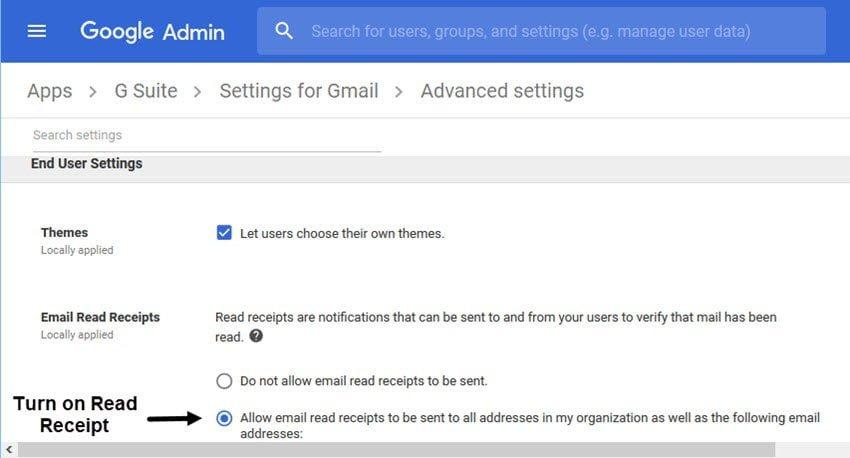 Activez la Confirmation de lecture dans GSuite Gmail.