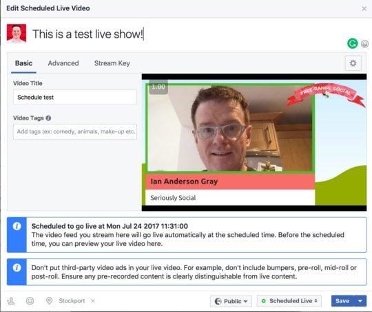 Test de diffusion direct sur facebook