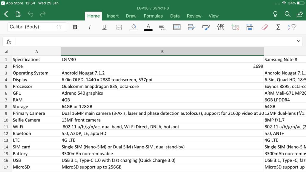 Excel pour iOS