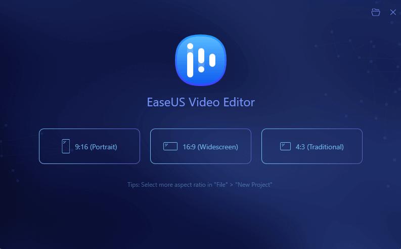 Ecran principal de EaseUS Video Editor