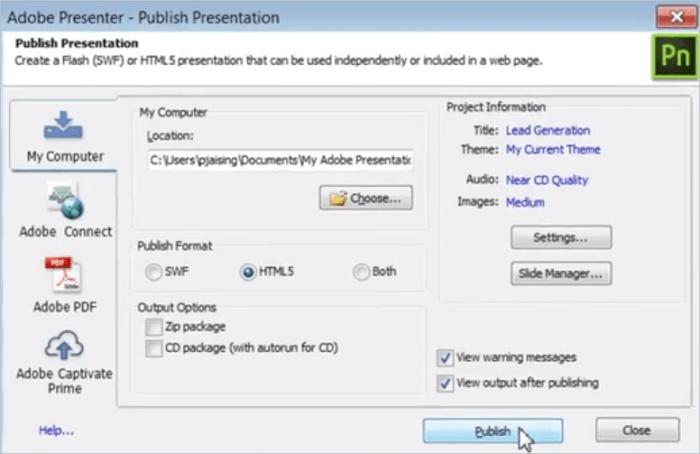 Adobe Presenter pour Windows et macOS