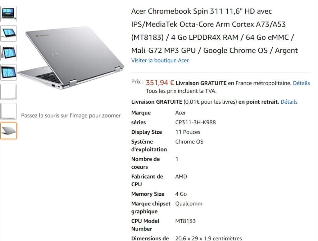 Chromebook 15 Spin d'Acer