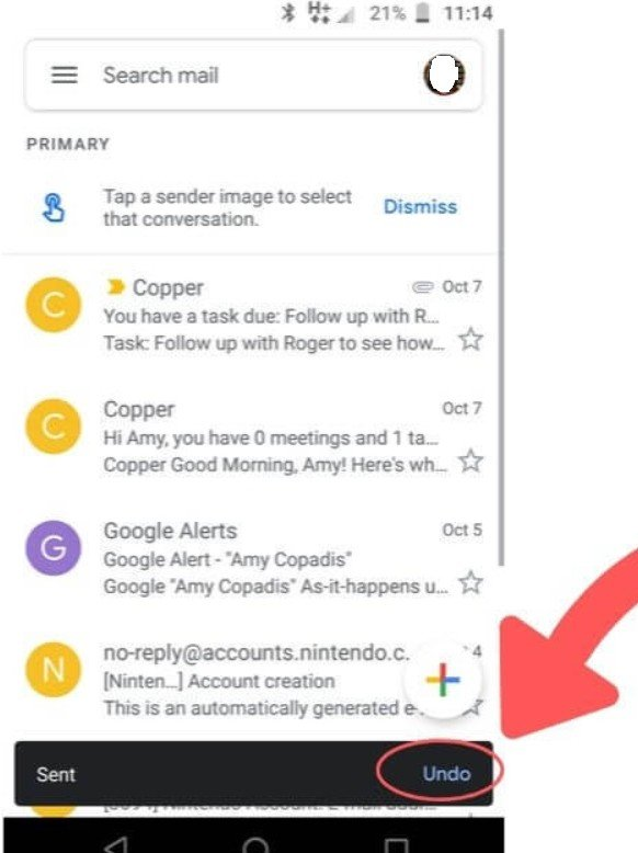 Rappel mail application mobile Gmail,