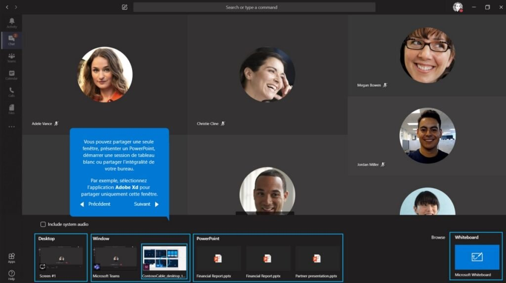Sélectionnez l'écran, la fenêtre ou le document à partager