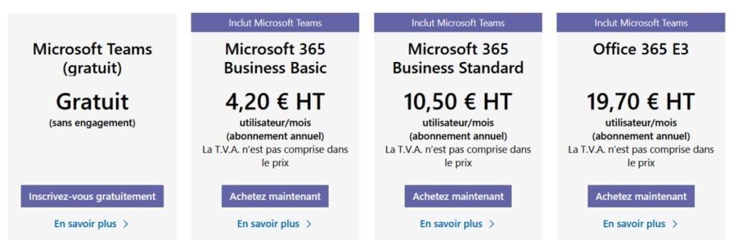 Prix Microsoft Teams